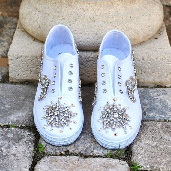 Sale Bridal Wedding Sneakers Embellished with Swarovski Crystal Size 9