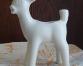 Vintage White Ceramic Deer Planter