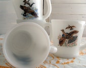 Set of Vintage 4 Fire King Mugs - Ruffed Grouse, Canada Goose