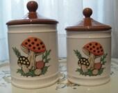 Ceramic Mushroom Canisters - Set of 2