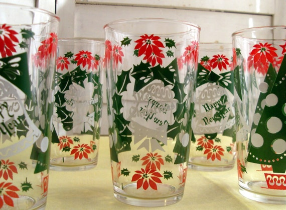 Set of 6 Vintage Anchor Hocking Holiday Glasses - Merrry Christmas and Happy New Year