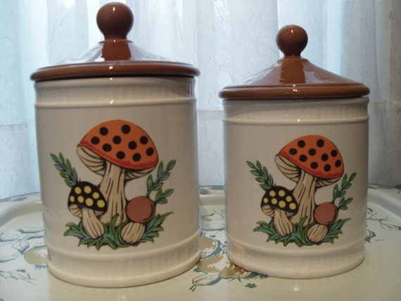 Ceramic Mushroom Canisters - Set of 2