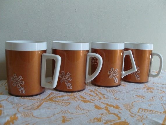 Set of 4 Copper Thermo-Serve Mugs - Four Seasons