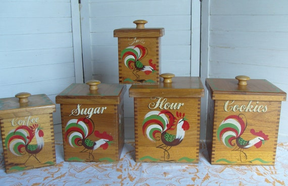 Set of 5 Vintage Wooden Canisters - Handpainted Roosters
