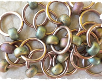 "Ringlets ""Khaki"" stitch markers, ring markers, knitting markers, snag free, dangle free"