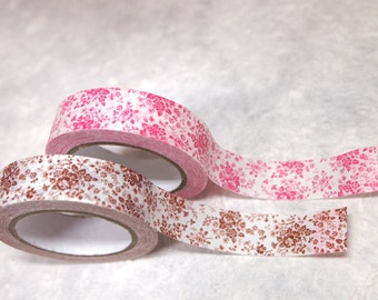 SALE paper tape 2 rolls set (flowers pink & brown)