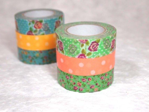 MORE SALE colte masking tape 3 rolls set (CT001) rose orange