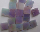"""IRIDESCENT LAVENDER 100 3/8"""" Lt Purple Opal Stained Glass Mosaic Tiles"""