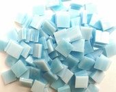 """SKY BLUE & White 3/8"""" Mosaic Mini Tiles Opal Streaky Stained Glass A41"""