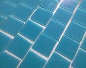 """100 3/8"""" - TURQUOISE BLUE Opal Stained Glass Mosaic Tile A39"""