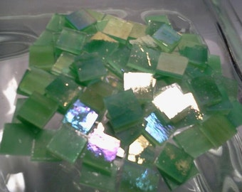100 Mosaic Tiles 3/8 inch Gold Iridized Green Wispy Stained Glass