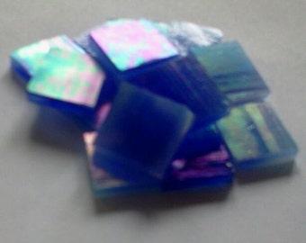 "LIGHT BLUE IRIDIZED - 100 3/8"" Irid Stained Glass Mosaic Tile Supply"