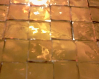 """100  1/4"""" Tiny Tile GOLDEN AMBER TRANSPARENT Stained Glass T3"""