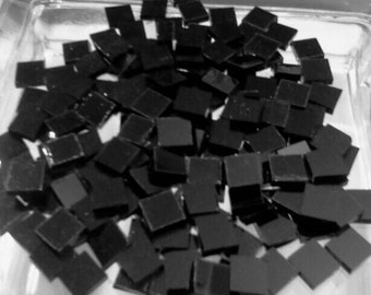 "100 1/4"" SHINY BLACK TIE Stained Glass - Mosaic Tiny Tiles T12"