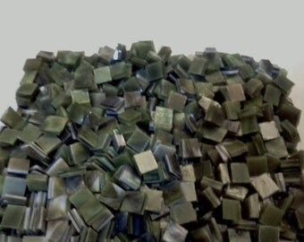 """100 1/4"""" TINY TILES - Avocado Green Mottled Stained Glass Mosaic T8"""