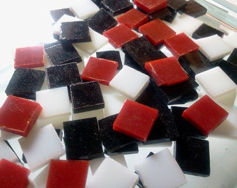50 RED, BLACK & WHITE Mix Opal Stained Glass Mosaic Tile A19/45