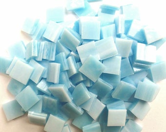 """100  1/4"""" Mosaic Tiny Tiles - Sky Blue Opal Streaky Stained Glass T12"""