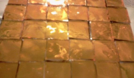 100 3/8 in SUNSHINE GOLD - Golden Amber Stained Glass Mosaic Tile A29