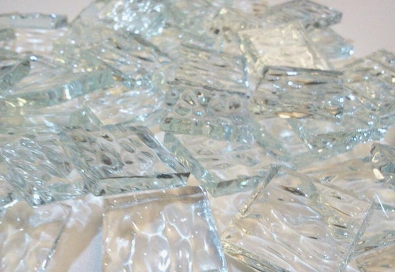 "100 3/8 in Textured Mosaic Tile - CLEAR ""ICE"" Stained Glass Ice2"