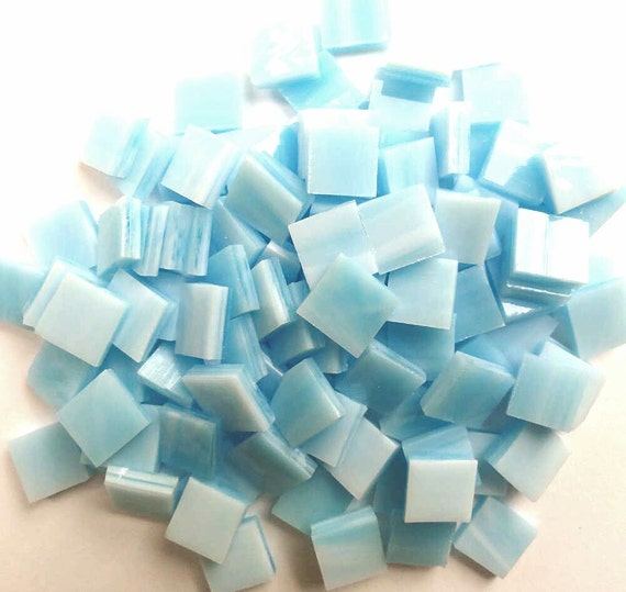 SKY BLUE & White Mosaic Mini Tiles Opal Streaky Stained Glass A41