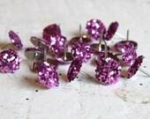 Glitter Thumb Tacks Pink Push Pins - Set of 20