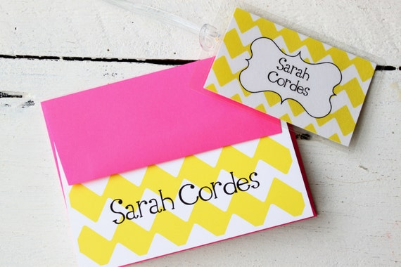 Custom Note Cards Gift Set Graduation Gift Personalized Luggage Tag Stationery Stationary Yellow Hot Pink