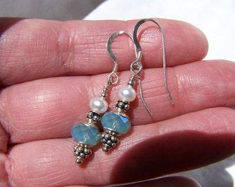 Swarovski Crystal, Pearl and Sterling earrings