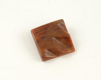 Large Brown Vintage Square Button
