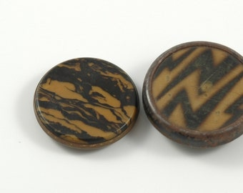 Two Large Vintage Celluloid Buttons
