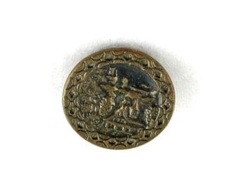 antique vintage brass picture button