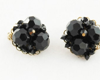 vintage black faceted glass beaded earrings, costume jewelry signed Marvella SALE PRICE