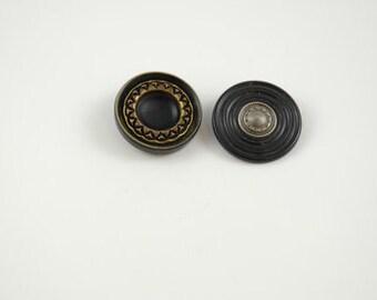 vintage buttons, big, black vintage buttons