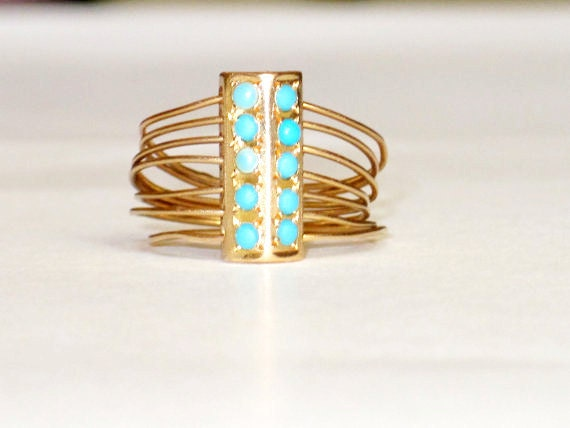 Vintage 18k Gold And Turquoise Ring