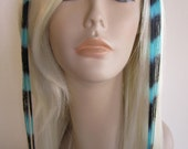 Clip in human hair extensions turquoise and black coontail 20 inches long