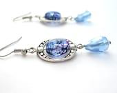 Blue Dangle Earrings, Bead Frames, Teardrop Beads