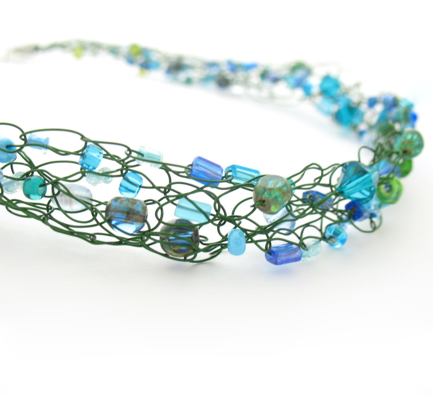 wire crochet beaded necklace green blue by moonlightshimmer