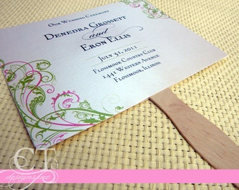Wedding Program Paddle Fan - Swirl Design - GETTING STARTED