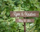 Featured on StyleMePretty - Wedding Signs - your NAMES and wedding DATE with Stake - signage, spring summer fall autumn chic wooden signage