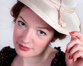 1940's Beige Scalloped Hat with Diamante detail