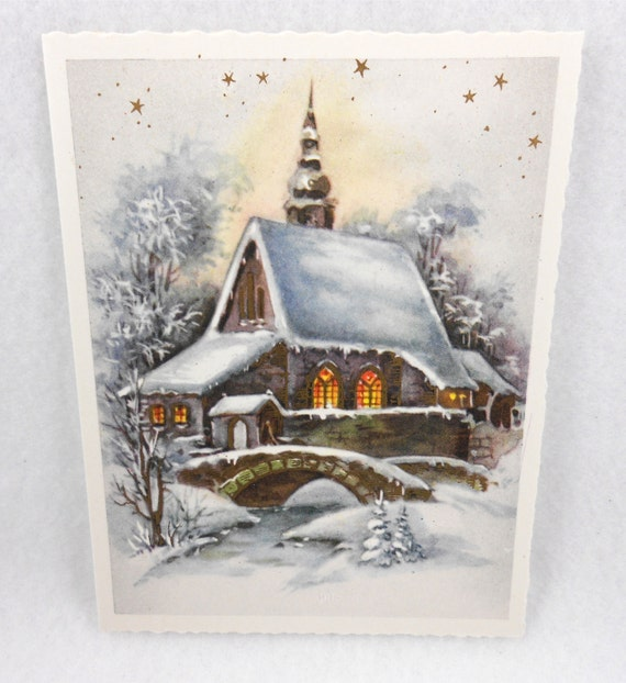 Vintage Alma Christmas Cards Unused Church Made Germany Set 6