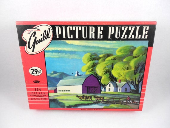 CLEARANCE Whitman Guild Picture Puzzle Jigsaw 304 Pieces Cows Come Home Farm Scene