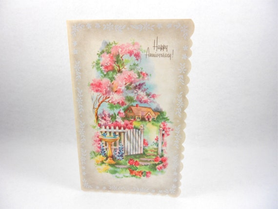 Vintage Happy Anniversary Card Unused Flowers House Scene