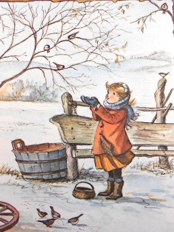 Tasha Tudor Christmas Cards Irene Dash Co Set 7 Unused Girl Feeding Chickadees Sparrows