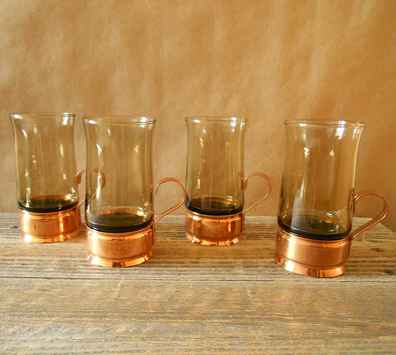 copper coffee mug cup beucler base smoked glass set 4. Black Bedroom Furniture Sets. Home Design Ideas