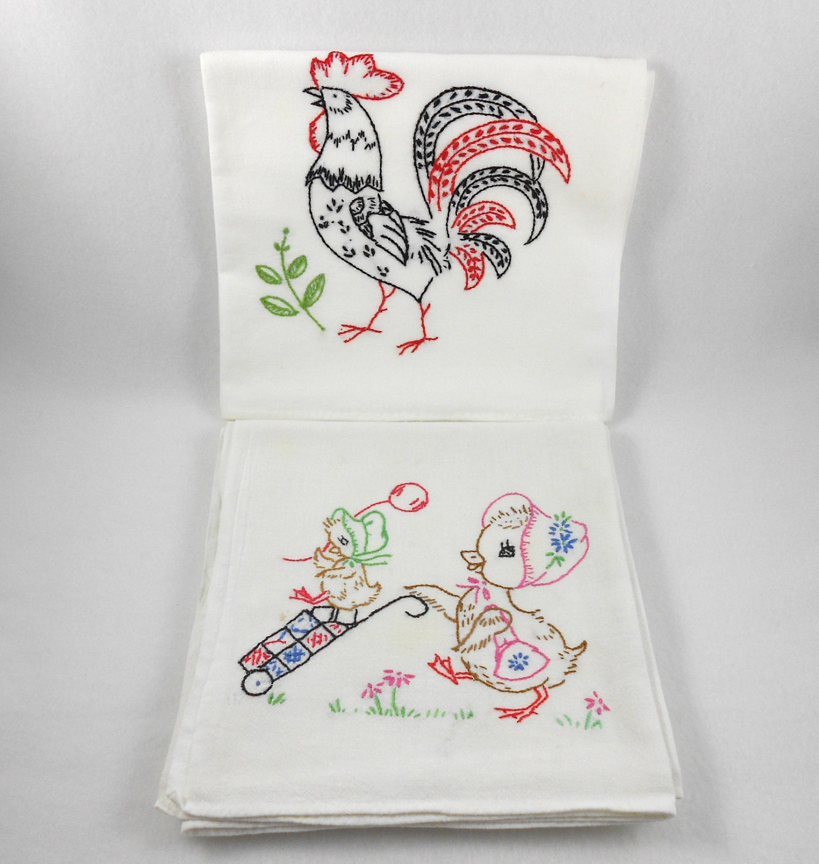 Vintage Embroidered Flour Sack Kitchen Towels Set 6