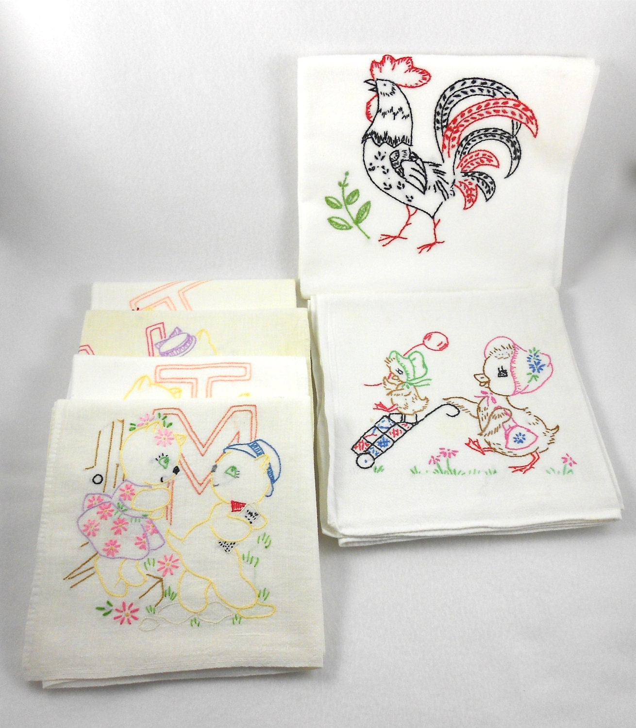 Vintage Embroidered Flour Sack Kitchen Towels Set 6