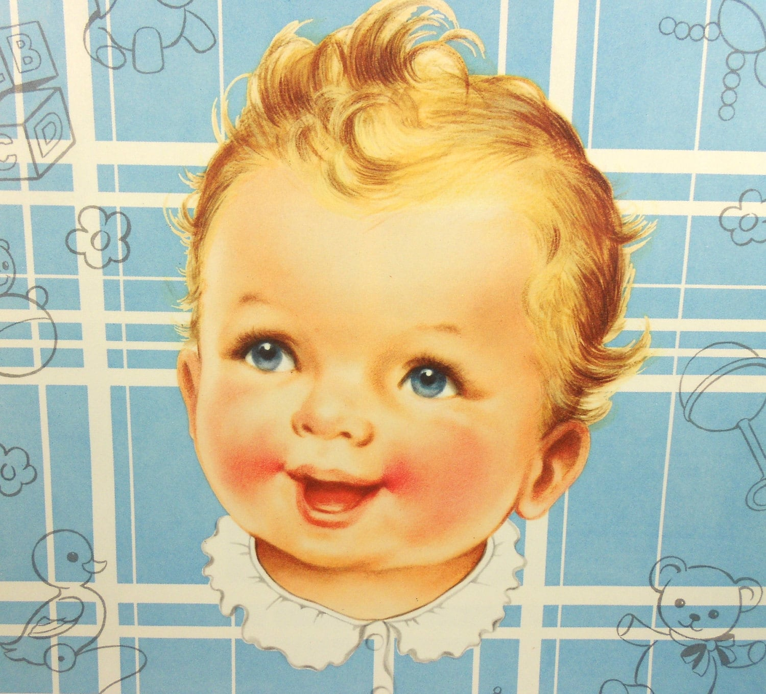 Vintage Baby Boy Wrapping Paper Blue Toys One Sheet