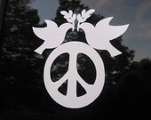 Peace Sign Decal - Dove of Peace Vinyl Car Decal - Peace Sign Window Sticker Bumper Sticker - Think peace