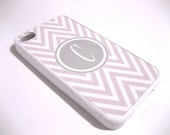 Pastel  Pink and White Chevron iPhone 4 Case with Gray Monogram  - iPhone 4 4S Cover- Pink and Gray - Flexible Rubber Case