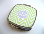Set of 6 - Lime Green and White Chevron Compact Mirror with Gray Monogram  - Mini Mirror for Purse or Bag- Lime Green and Gray